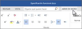Abrir la aplicación de Office completa en lugar de ejecutar Office Online