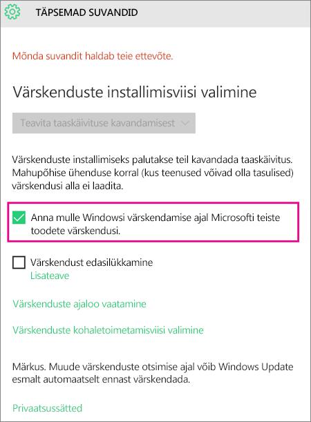 Windows Update'i täpsemad suvandid