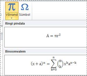 Valmisvormindatud võrrandid loendis Võrrand