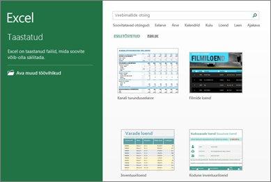 Osa Excelis saadaolevatest mallidest