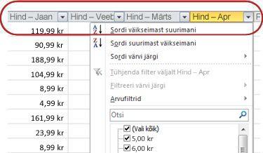 Exceli tabeli veerupäistes kuvatavad automaatfiltrid