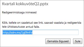 Lühendatud URL-i kopeerimine teistega jagamiseks
