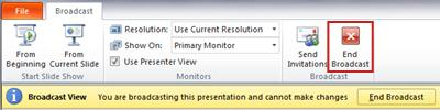 the broadcast tab appears when broadcasting slide show in powerpoint 2010.