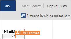 Word Online näyttää, missä kohtaa muut käyttäjät muokkaavat asiakirjaa