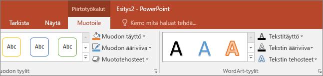 Näyttää Piirtotyökalut-välilehden PowerPointin valintanauhassa