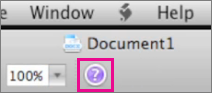 Avaa Mac Officen ohje napsauttamalla kysymysmerkkiä.
