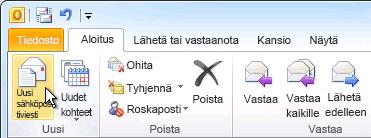 Valintanauhan Uusi sähköposti -komento