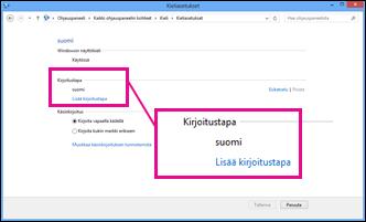 Syöttötavan lisääminen Windows 8:ssa