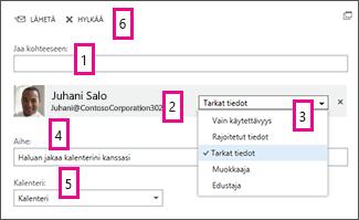Kalenterin jakaminen Office Online -sovelluksessa