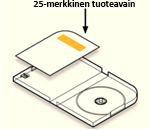 Product Key -tuotetunnus tuotepakkauksen sisällä olevassa tarrassa, joka on levynpidikettä vastapäätä levykotelon sisäpuolella sen vasemmalla puolella.