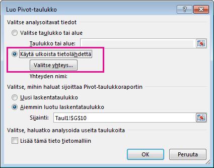 Luo Pivot-taulukko -valintaikkuna ja ulkoinen tietolähde valittuna