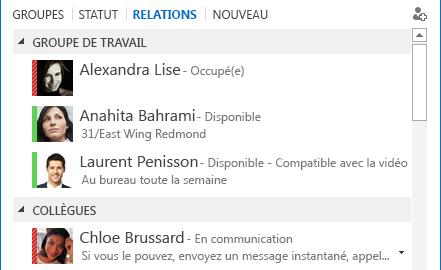 Capture d'écran du tri des contacts par relation