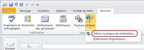 Ruban Message Outlook - onglet Révision - Langue