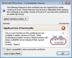 Vérificateur de compatibilité avec les versions mises en surbrillance