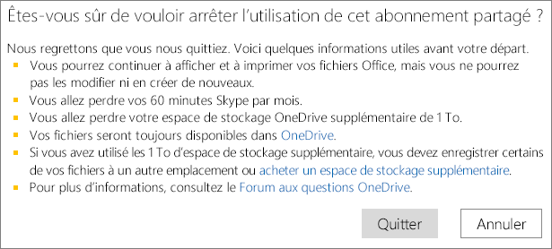 Screenshot of the confirmation dialog box when you stop using a shared Office 365 Home subscription.