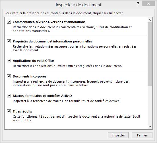 Options de la boîte de dialogue Inspecteur de document