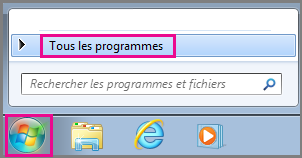 Search for Office apps using All Programs in Windows 7