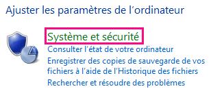 Lien Système et sécurité de Windows8 dans le Panneau de configuration