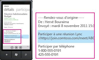 Capture d'écran montrant la demande de participation à une réunion Lync sur Lync pour les clients mobiles