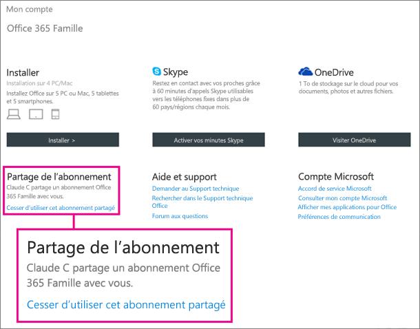 Capture d'écran de la page Mon compte avec la section Partage d'abonnement agrandie et le lien «Arrêter l'utilisation de cet abonnement partagé» sélectionné.