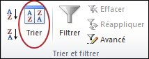 Commande Trier dans le groupe Trier et filtrer sous l'onglet Données dans Excel