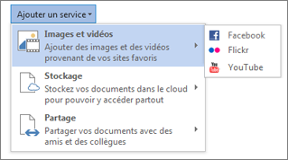 Ajouter un service, tel que Flickr ou Facebook pour Office