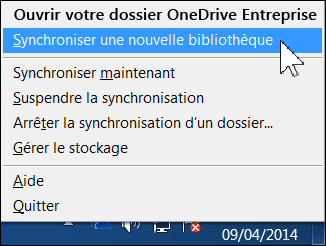Menu OneDrive Entreprise dans la zone de notification de Windows