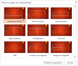 Modifier la disposition d'une diapositive