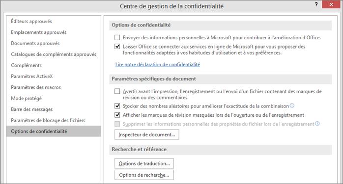 Options de confidentialité dans le Centre de gestion de la confidentialité d'Office