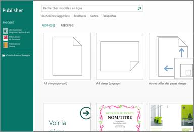 Capture d'écran des modèles de prise en main dans Publisher