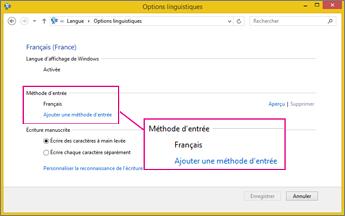 Office2016 - Ajouter une méthode d'entrée dans Windows8