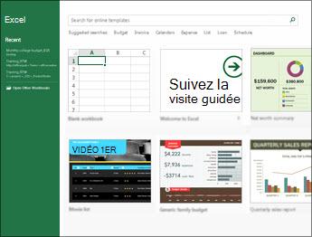 Certains des modèles disponibles dans Excel