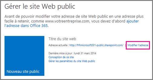 Page Gérer le site web public montrant l'option Modifier l'adresse.