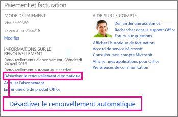 Capture d'écran de la section Informations de renouvellement avec le lien «Désactiver le renouvellement automatique» sélectionné.