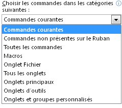Liste Choisir les commandes dans les catégories suivantes