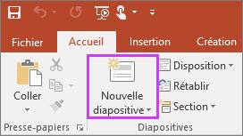 Bouton Nouvelle diapositive sous l'onglet Accueil du ruban dans PowerPoint