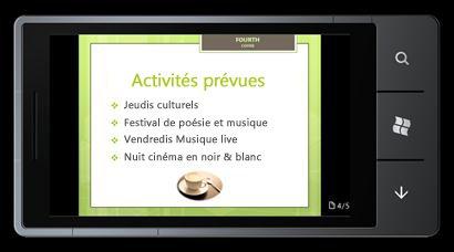 PowerPoint Mobile2010 pour Windows Phone7: modifier et afficher à partir de votre téléphone
