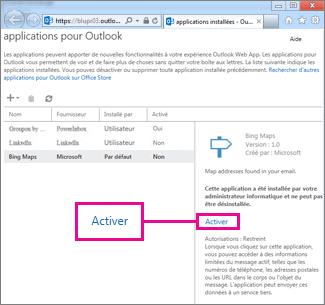 Activer une application pour Outlook