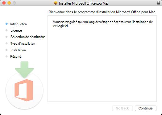 Premier écran d'installation d'Office pour Mac2016 avec l'option «Continuer» mise en évidence