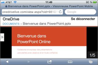 Diaporama dans la visionneuse Mobile pour PowerPoint