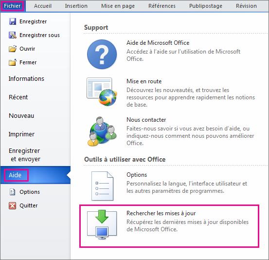 Vérification manuelle des mises à jour d'Office dans Word2010