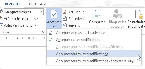 Commande Accepter toutes les modifications dans le menu Accepter