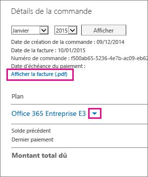 Sélectionner «Afficher la facture (.pdf)» pour télécharger votre facture au format PDF.
