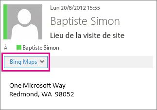 Message Outlook montrant l'application Bing Maps