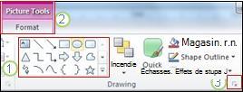 Exemples de certaines fonctionnalités supplémentaires du ruban dans PowerPoint2010.