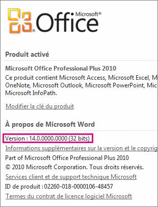 Numéro de version d'Office