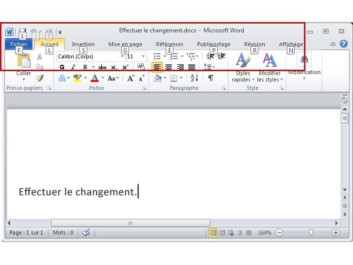 Onglet Accueil dans Word 2010 avec les touches accélératrices affichées