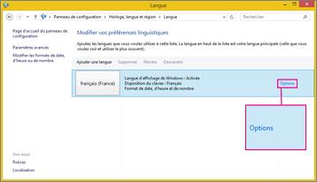 Office2016 - Options de la méthode d'entrée dans Windows8