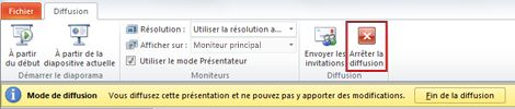 L'onglet Diffusion apparaît lors de la diffusion du diaporama dans PowerPoint2010.