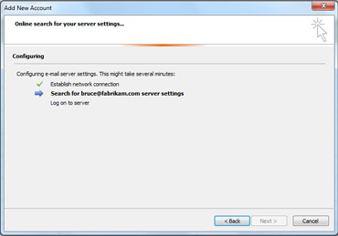 ई-मेल सर्वर सेटिंग्स कॉन्फ़िगर की जा रही हैं, यह संकेत देता हुआ नया खाता जोड़ें संवाद बॉक्स